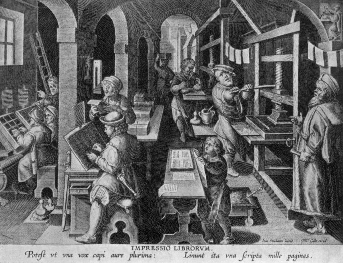 engraving of sixteenth-century printing house, showing the printed sheets hung up to dry